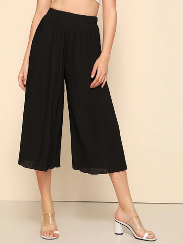 Solid Pleated Wide Leg Pants