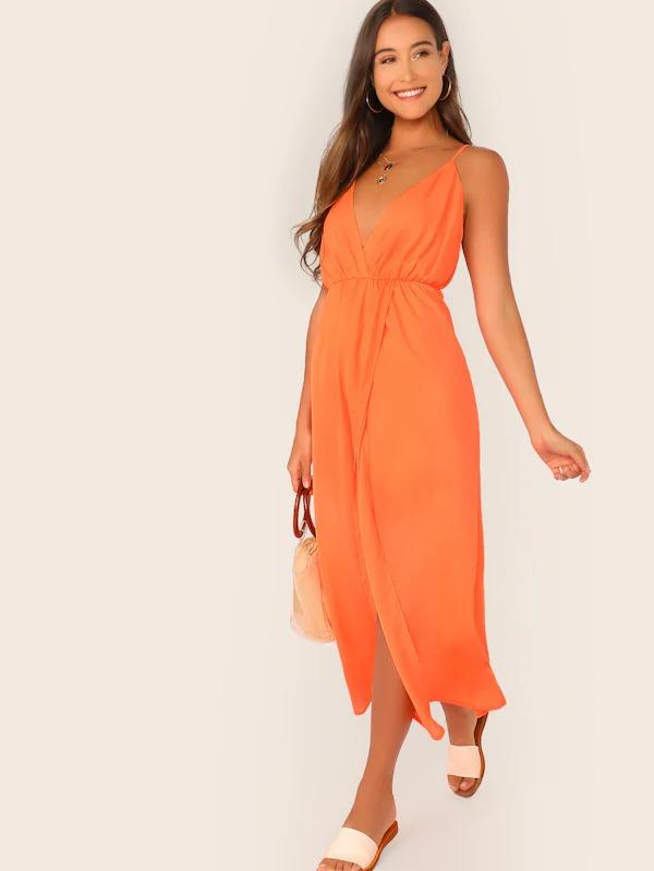 Solid Plunge Neck Wrap Slip Dress