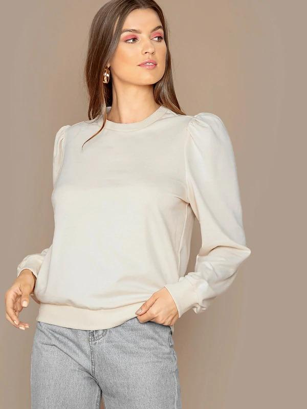 Solid Puff Sleeve Pullover