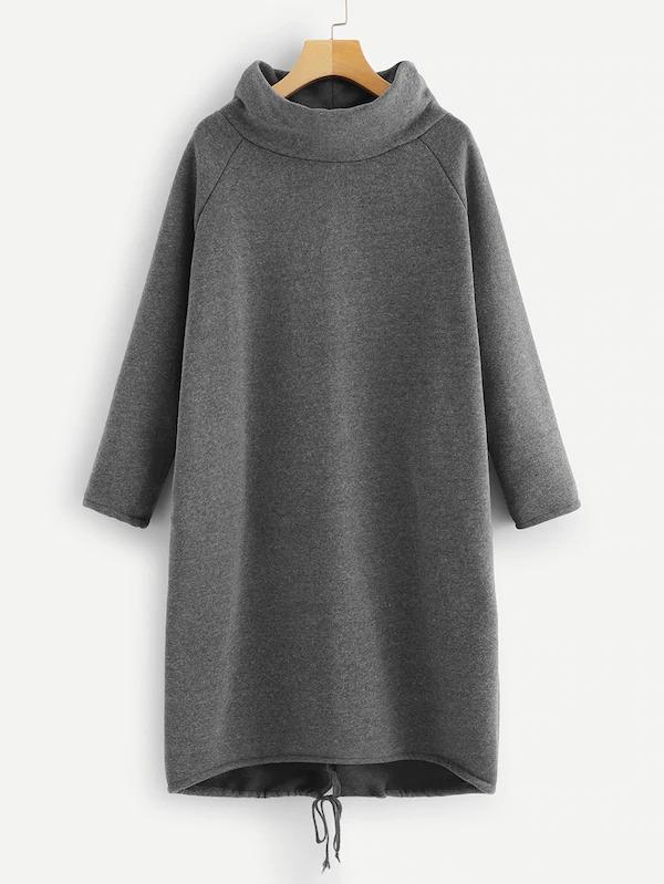 Solid Raglan Sleeve Sweatshirt Dress