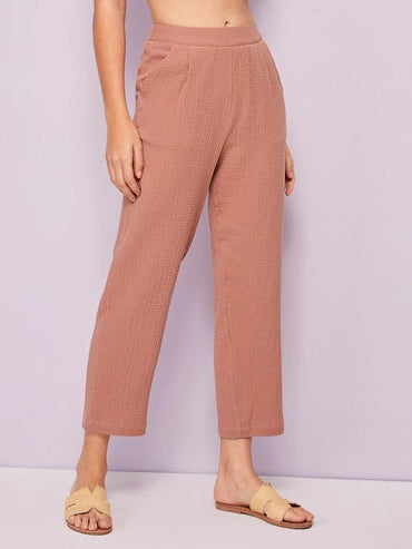 Solid Side Pocket Straight Leg Pants