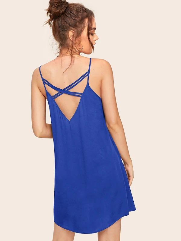 Solid Strappy Back Cami Dress