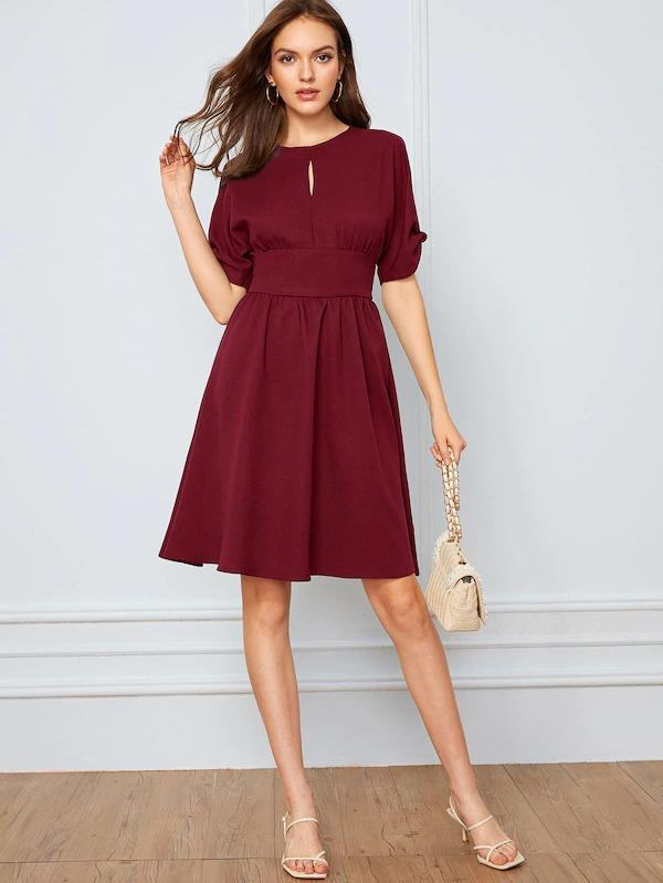 Solid Wide Waistband Split Sleeve Peekaboo Dress