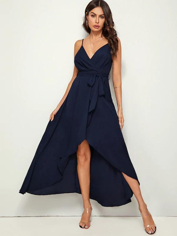 Solid Wrap Belted Slip Dress
