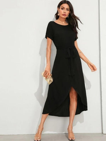 Solid Wrap Dip Hem Self Belted Dress