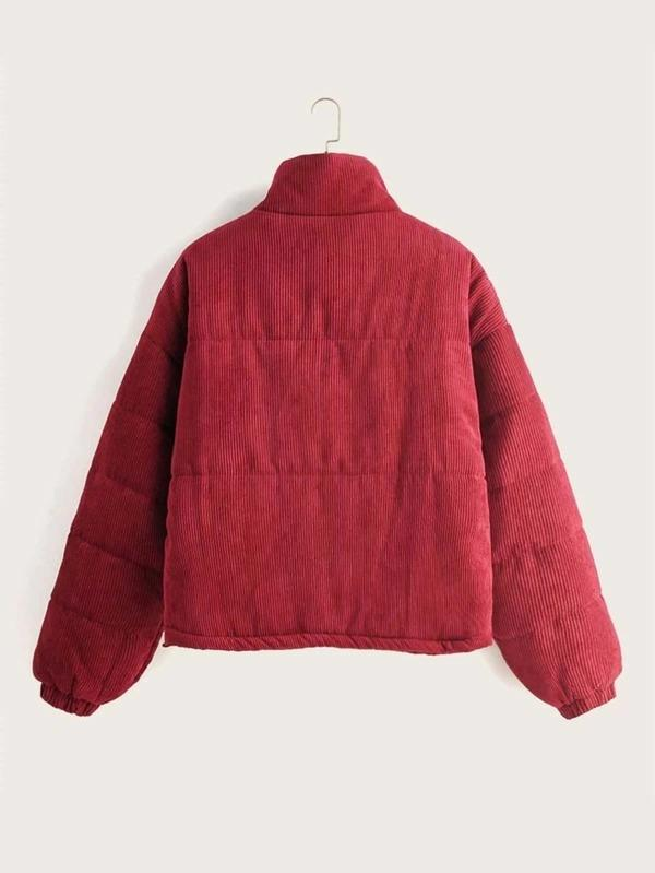 Solid Zip Up Corduroy Jacket