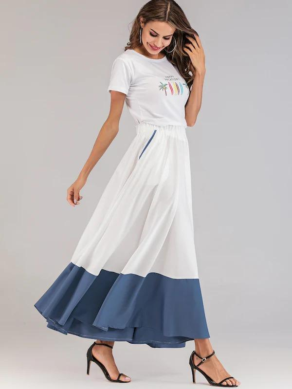 Spliced Elastic Waist Flared Maxi Skirt
