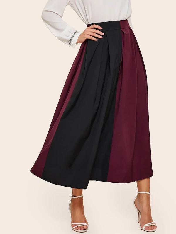 Spliced Zip-Back Flared Skirt