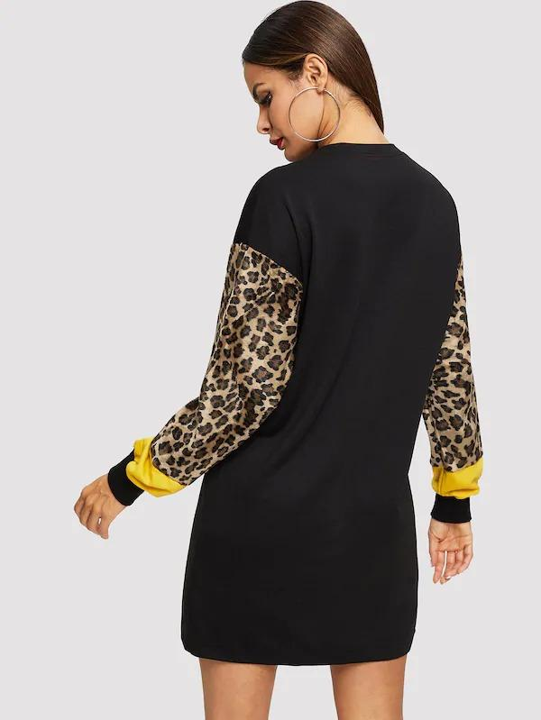 Spliced Leopard Sleeve Sweatshirt Dress