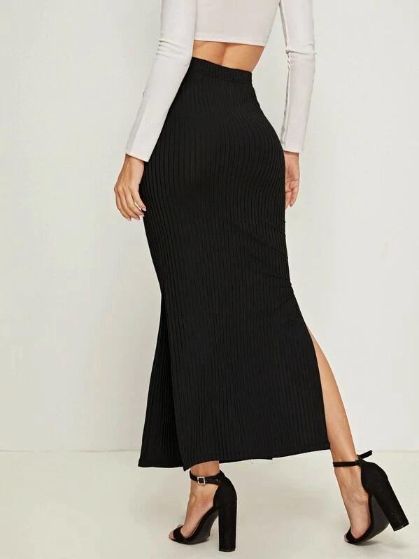 Split Side Rib-Knit Skirt