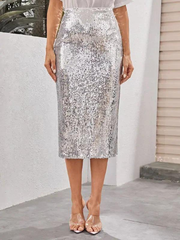 Split Side Sequin Skirt