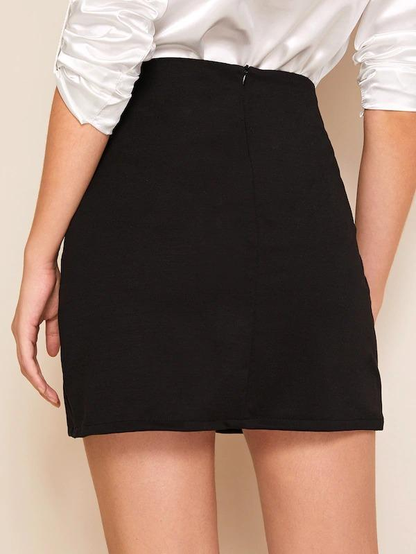 Split Side Zip Back Sheath Skirt