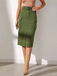 Women Split Hem Belted Skirt