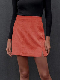 Women Split Hem Cord Skirt