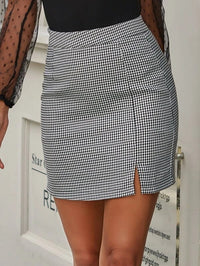 Women Split Hem Houndstooth Print Skirt