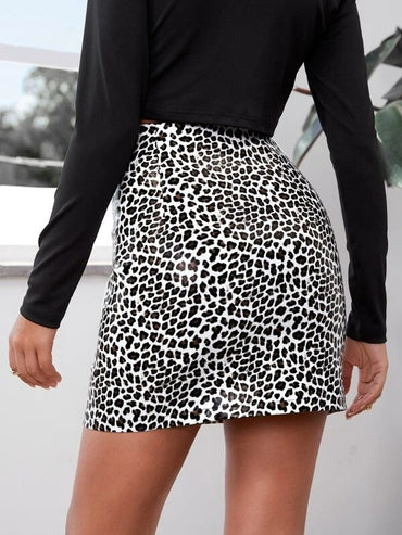 Women Split Hem Leopard PU Leather Skirt