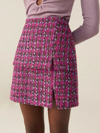 Women Split Hem Tweed Skirt