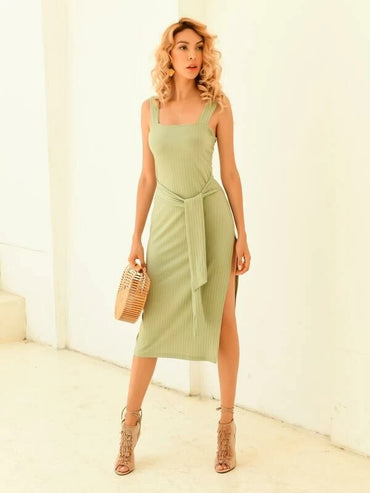Women Split Thigh Belted Cami Dress