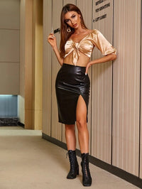 Women Split Thigh PU Leather Skirt