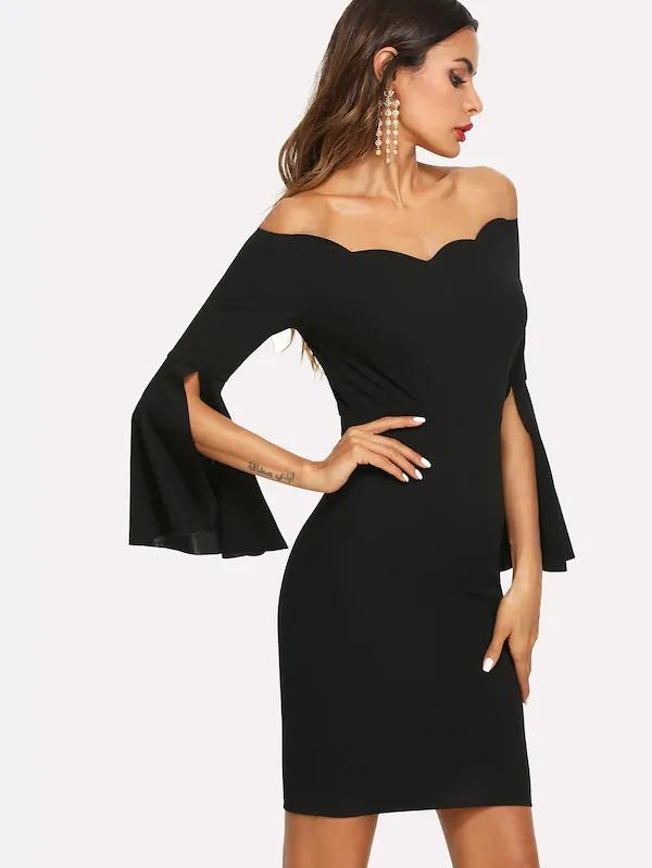 Split Trumpet Sleeve Scallop Bardot Dress