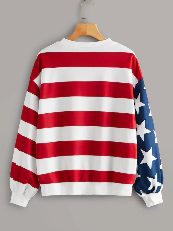 Stars And Stripes Drop Shoulder Sweatshirt