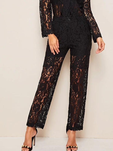 Straight Leg Sheer Lace Pants