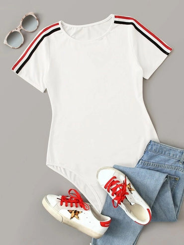 Stripe Tape Short Sleeve Skinny Bodysuit