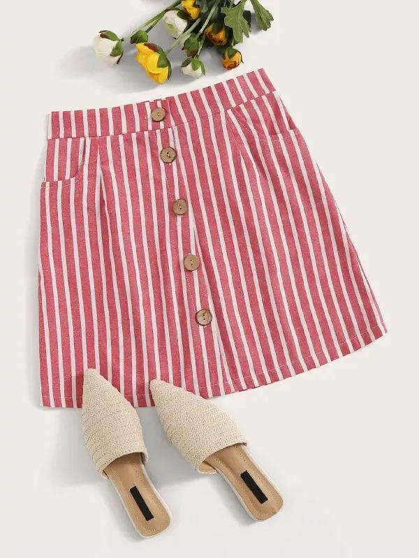 Striped Button Front A-Line Skirt