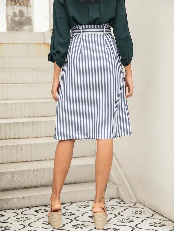 Striped Button Front Belted Skirt