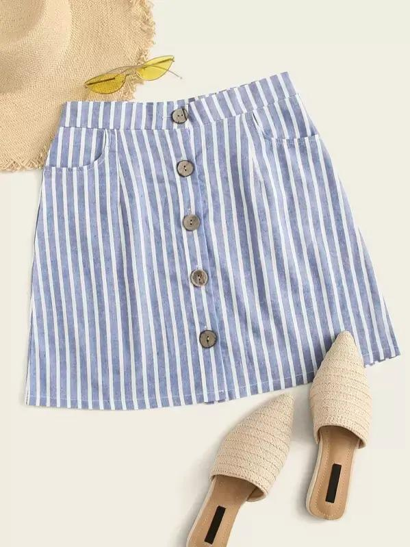 Striped Button Through Skirt