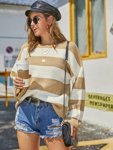 Striped Color-Block Drop Shoulder Jumper