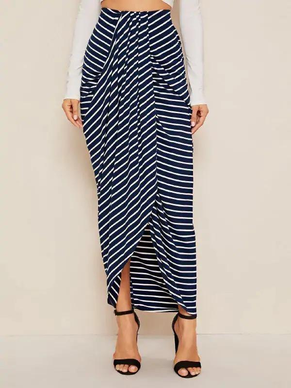 Striped Draped Skirt