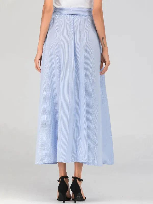 Striped Dual Pocket Front Belted Maxi Skirt
