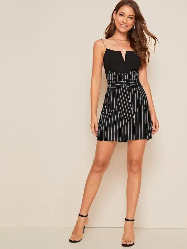 Striped Notched High Waist Belted Skirt