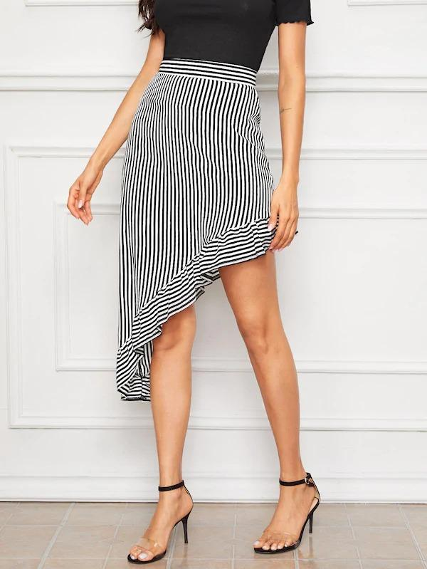 Striped Print Asymmetrical Ruffle Hem Skirt