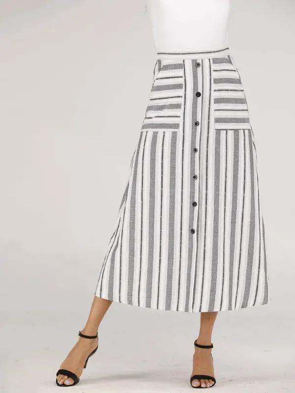 Striped Print Button Front Skirt