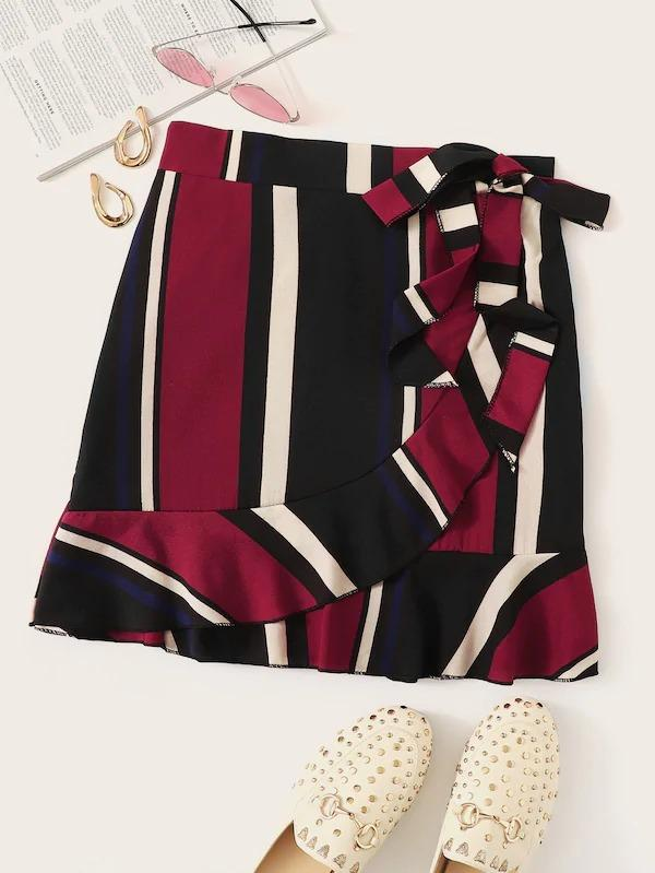 Striped Ruffle Hem Knot Side Wrap Skirt