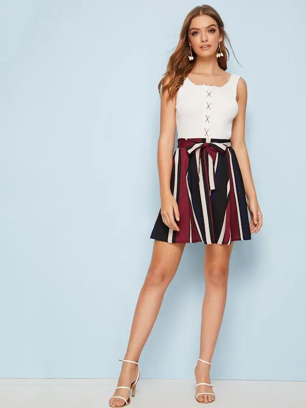 Striped Swing Tie Front Skirt
