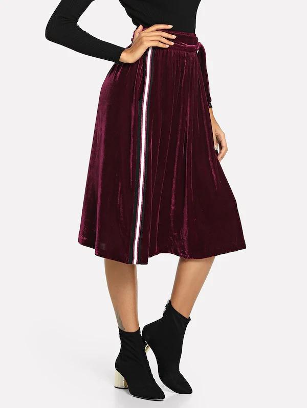 Striped Tape Detail Velvet Skirt