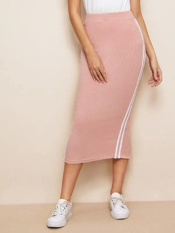Striped Tape Side Slit Hem Rib-Knit Skirt