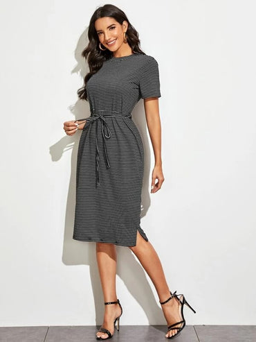 Women Striped Belted Fitted Dress