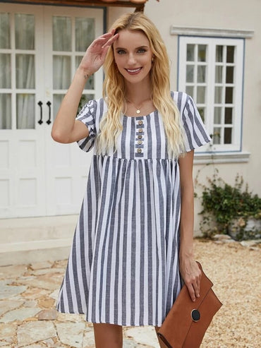 Women Striped Button Front Smock Dress
