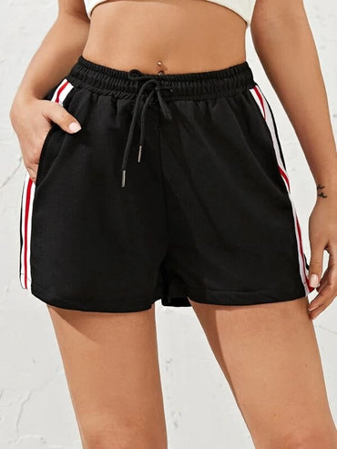 Women Striped Drawstring Waist Track Shorts