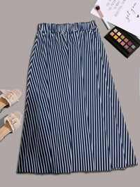 Women Striped Elastic Waist Skirt