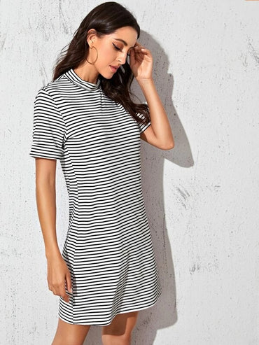 Women Striped Mock Neck Tee Dress