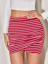 Women Striped Overlap Bodycon Skirt