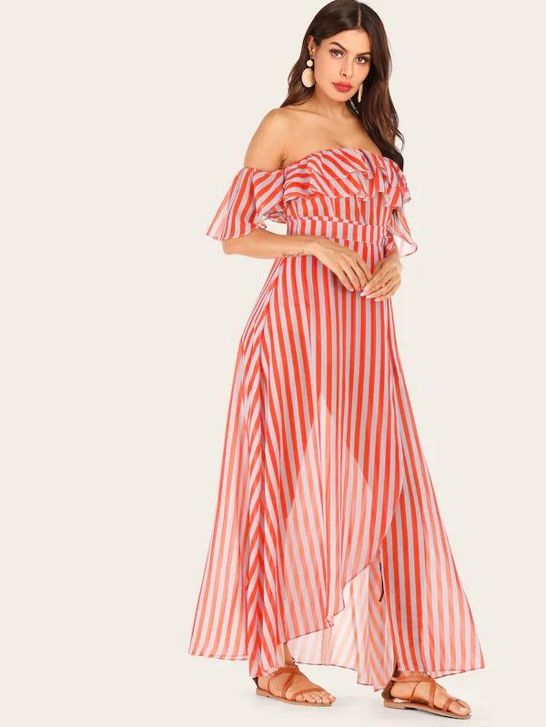 Striped Belted Layer Ruffle Off The Shoulder Dress