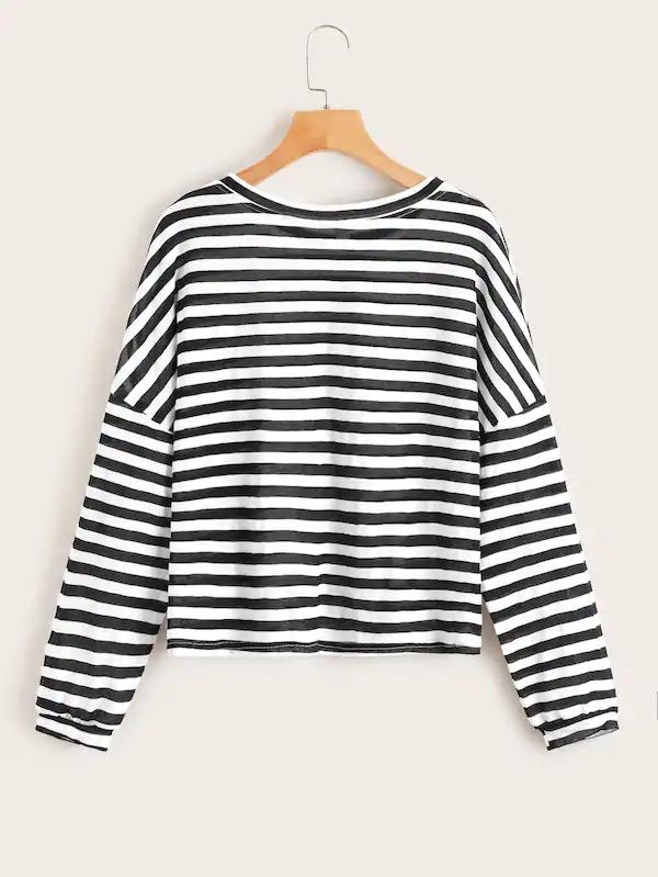 Striped Drop Shoulder Sweatshirt