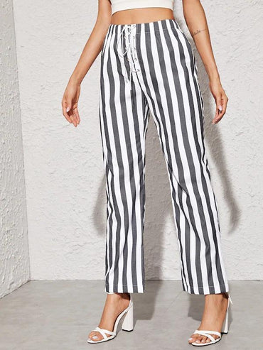 Striped Lace Up Front Straight Leg Pants