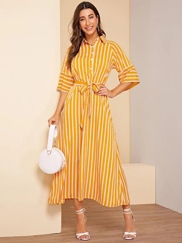 Striped Print Belted Button Half Placket Maxi Dress